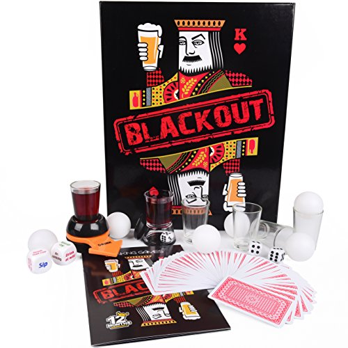 Drinking Games Kit for Adults - BLACKOUT 20 Items Party Game Set - Includes Beer Pong Balls, Shot Glasses, Dice & Playing Cards - Fun Gift for 21st birthday, Bachelorette Parties & College Graduation