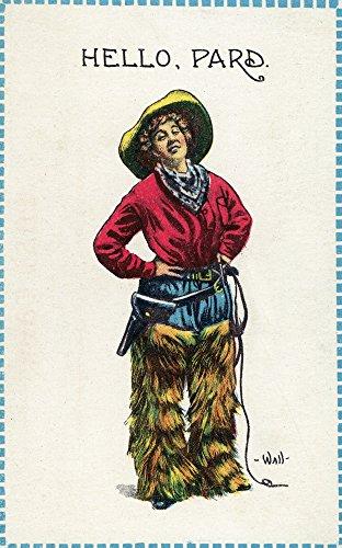 Comic Cartoon - Cowgirl Saying Hello, Pard (16x24 Collectible Giclee Gallery Print, Wall Decor Travel (Cartoon Cowgirl)