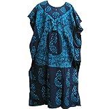 Indian Cotton Batik Paisley Floral Bohemian Long Caftan/Kaftan Dress No2