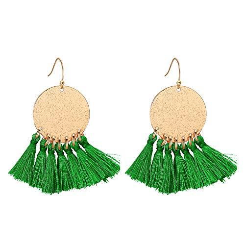 LILIE&WHITE Fan Shape Multi Tassel Earrings Bohemian Drop Dangle Earrings for Girls Fashion Jewelry Green
