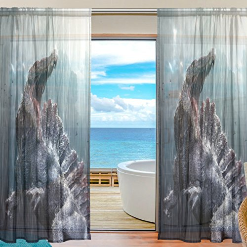Florence Cool Spinosaurus Dinosaur With Tropical Storm Window Room Decoration Sheer Curtains Polyester Gauze Curtain Drape for Bedroom, Living Room,55x78 inches, 2 Panels