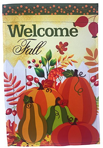 Lantern Hill Fall Garden Flag Yard Decoration; Autumn Harvest Pumpkins with Pip Berry Trim; True Double Sided Welcome Fall Message readable Both Sides; 12 inches by 18 inches ()