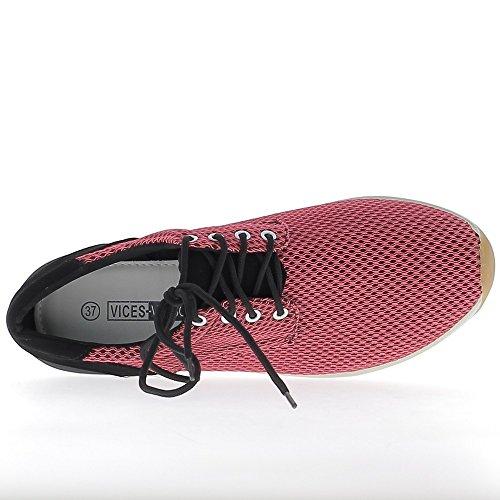 Mujer zapatillas de deporte rosa y negra nido suelas anchas abeja