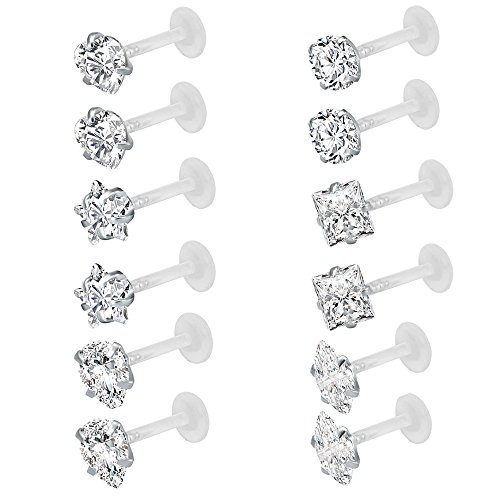Monroe Lip Ring (12Pcs 16G Clear Bioflex CZ Stone Labret Monroe Lip Ring Helix Tragus Cartilage Earrings Stud Piercing (12pcs (3mm cz)))