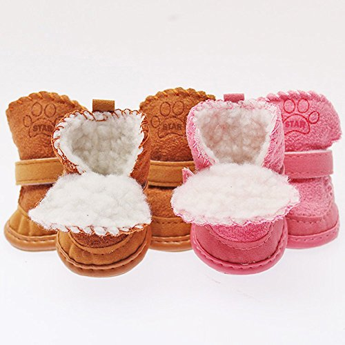 Puppy Cotton Winter Boots,STAR-TOP Closure Winter Snow Warm Walking Boots for Small Dog (M,Khaki)