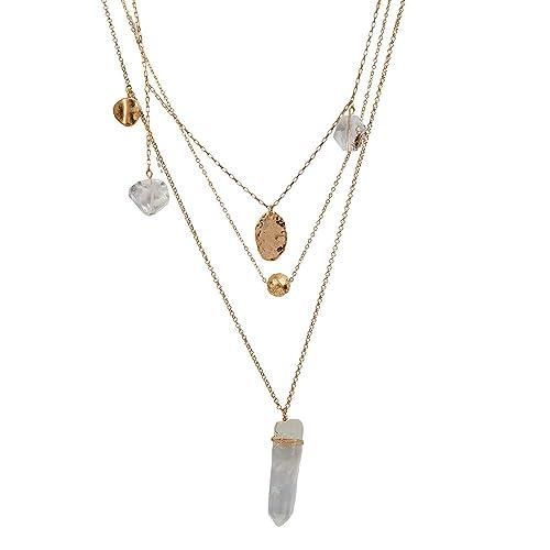 aeac453e42e9 LuckyLy – Collares Largos de Mujer Moda Francis – Collares con Piedras  Mujer de 3 Capas