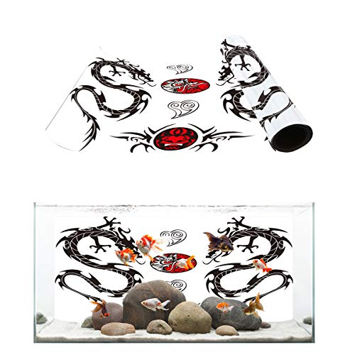 Fantasy Star Aquarium Background Chinese Mythology Good Luck Devil Dragon Fish Tank Wallpaper Easy to Apply and Remove PVC Sticker Pictures Poster Background Decoration 24.4