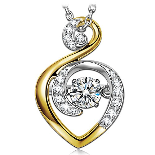 DANCING HEART Women Heart Necklace 925 Sterling Silver Gold Plated Pendant Japan Stone Cubic Zirconia Fine Fashion Costume Jewelry Birthday Gifts for Her Ladies Girls Girlfriend Wife