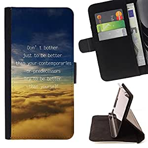 DEVIL CASE - FOR HTC One M8 - Better Predecessors Yourself Quote Motivational - Style PU Leather Case Wallet Flip Stand Flap Closure Cover