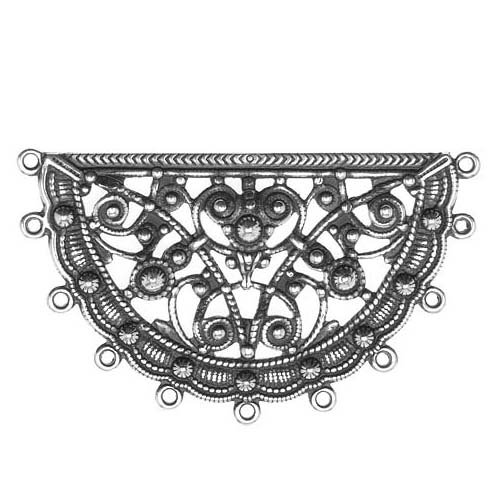 Beadaholique Silver Plated Half Circle Looped Filigree Stamping 30x50mm (1)