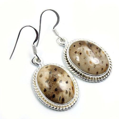 Wood Palm Earrings (Sterling Silver Rare Palm Wood Jasper Dangle Earrings)