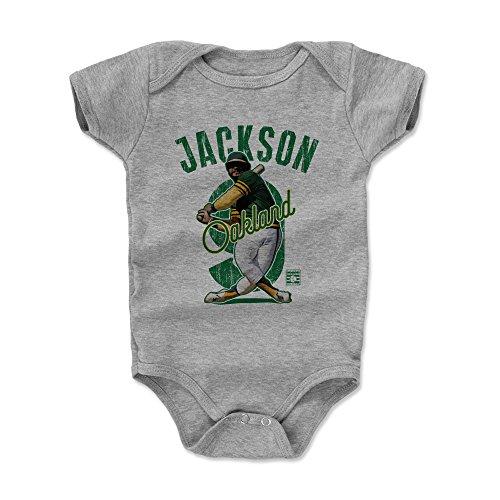 500 LEVEL Reggie Jackson Baby Clothes, Onesie, Creeper, Bodysuit 6-12 Months Heather Gray - Vintage Oakland Baseball Baby Clothes - Reggie Jackson Arch G (Shirts Reggie Jackson)