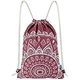"Miomao Drawstring Backpack Canvas Gym Sackpack, Geometric Mandala Style Gymsack with Zipper Pockets, Unisex Casual Bag Yoga Daypack Outdoor Rucksack, 13"" X 18"", Burgundy"