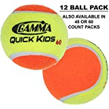 Gamma Quick Kids (Transition) Practice Tennis Balls: Red 36, Orange 60, or Green 78 Dot (25%-50% Slower Ball Speed) - 12, 36, 48, 60 Pack Sizes