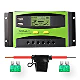 Sunix 30A 12V/24V Solar Charge Controller, Upgraded Intelligent Solar Charge Regulator with Battery Fuse, 2 USB Port Display, Overload Protection Temperature Compensation