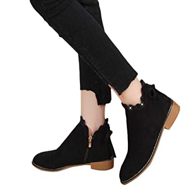 6cefc57af9cd Amazon.com  Gyoume Women Ankle Boots Shoes Flat Wedge Boots Shoes Bow Lace  Teen Boots Shoes Xmas Boots  Clothing