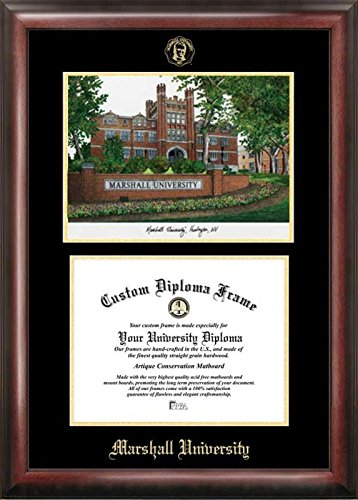 Campus Images ''Marshall University Embossed Diploma'' Frame with Lithograph Print, 8.5'' x 11'', Gold