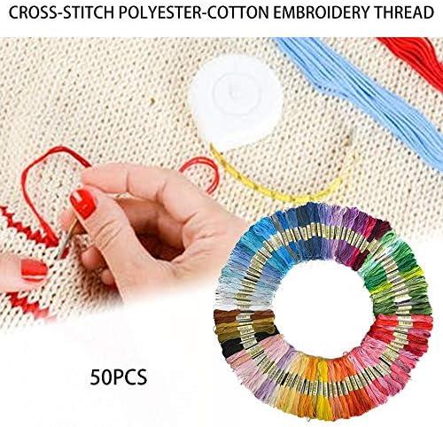 Bunt KEKDORY 50 Farben 100 Farben Kreuzstichfaden Polyester Baumwolle Stickgarn Regenbogenfarbe Handstickerei Geflochtenes Garn