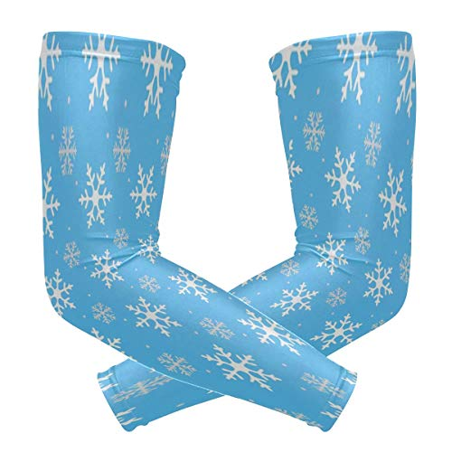 Arm Sleeve Winter Snowflake Sports Compression/UV Protection/Dry-Fast Breathable/Warmth for Men Women Cycling/Golf/Basketball 1 Pair