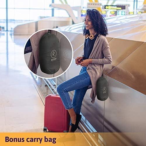 Ultra Soft Memory Foam Airplane Cushion with Adjustable Drawstring Hood ROVAZO Hooded Neck Pillow and Silicone Ear Plugs Premium Sleep Travel Kit Bonus Carrying Bag