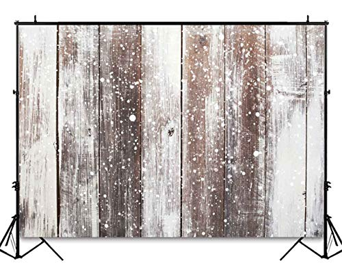 (Funnytree 5X3ft Winter Snow Wooden Floor Photography Backdrop Christmas Snowflake Rustic Wood Flat Lay Photographic Background Faux Panel Texture Board Tabletop Xmas Photo Studio Props Banner)