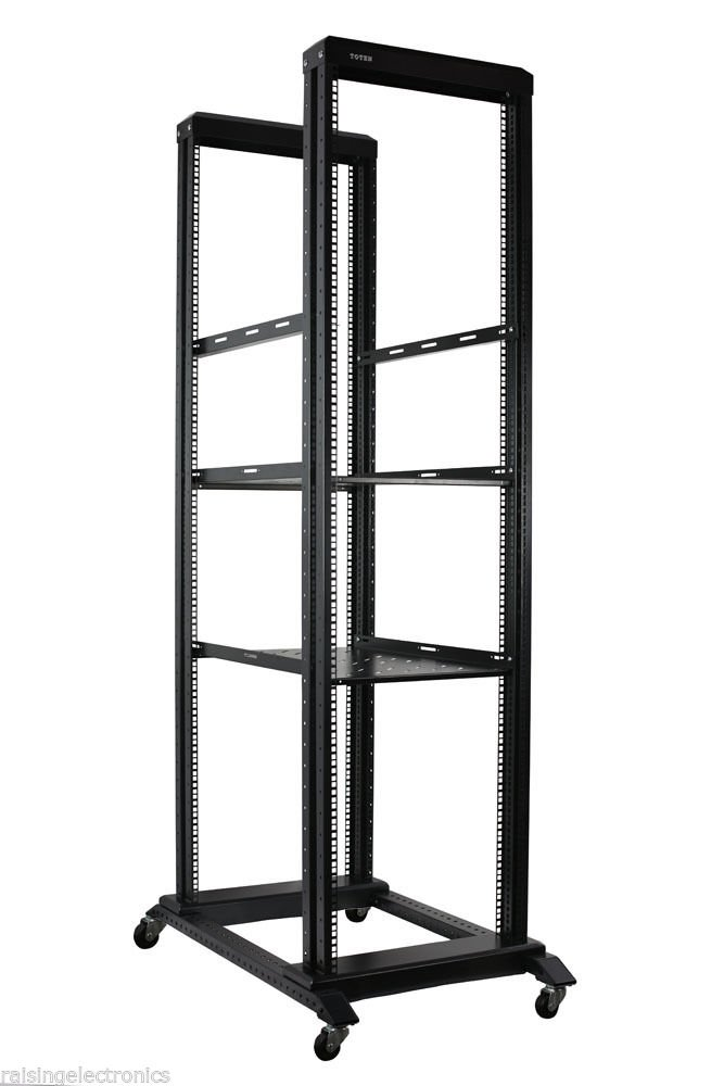 42U Open Frame Server Network Rack 800MM Deep 4 Post With 3 Pairs OF L-Rails