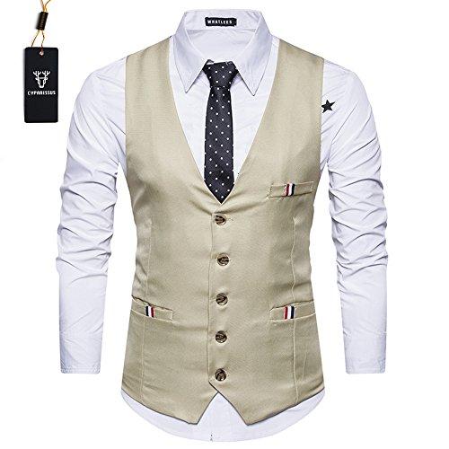 Cyparissus Men's Business Dress VestFormal Suit Vest Button Down Vest Waistcoat for Suit Or Tuxedo (XXL, Khaki) by Cyparissus