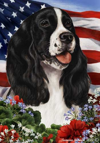Springer Spanield Dog Breed Patriotic House Flag 28 x 40 Inches B-W