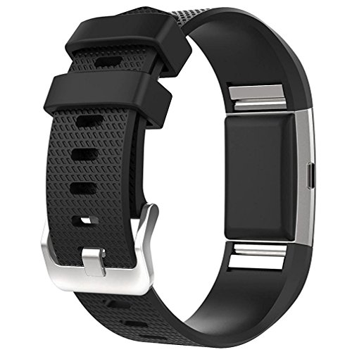 Fitbit Charge 2 Bands, New Bracelet Strap Replacement Band Wristband with Secure Silicone Fasteners Metal Clasps for Fitbit Charge 2 (No Tracker) (Black, 6.7 - 9 Inches wrist)
