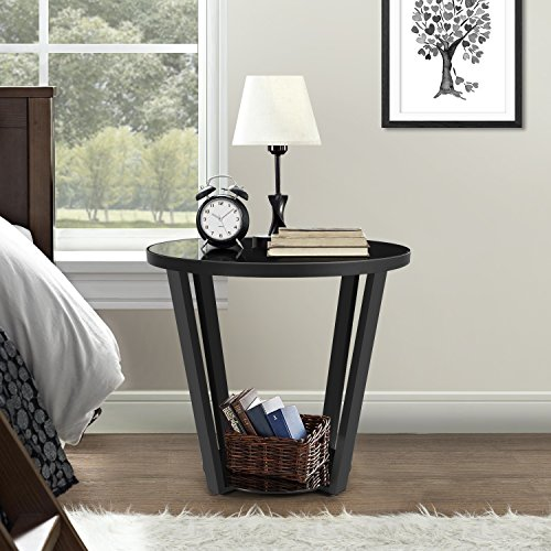 Lifewit 2-tier Modern Round Side / End Table / Nightstand / Coffee Table, Black - Transitional Accent Floor Lamp