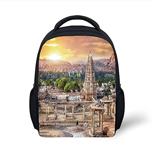 iPrint Kids School Backpack Asian,Viruphaksha Temple View Up from the Hills Sunset above City Buildings Rock Tower,Cream Orange Plain Bookbag Travel ()