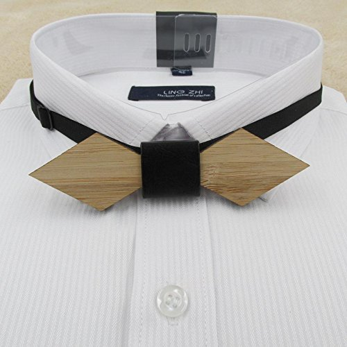 Bamboo Cufflinks (Bamboo Wood Bow Tie For Men Marry Groomsmen Wedding Party Butterfly s Man Accessory geometry bow tie 01)