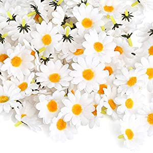 Naler 120pcs Silk Daisy Flower Heads Artificial Daisy Flower Heads Artificial Daisies Craft for Wedding Party Decorations, White 63