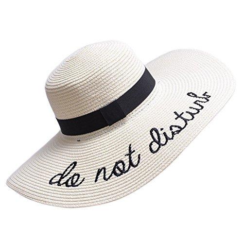 PardoBed Womens Embroidery Floppy Bucket Summer Kentucky Derby Sun Hat Lettering Straw Hat, Beige, One Size