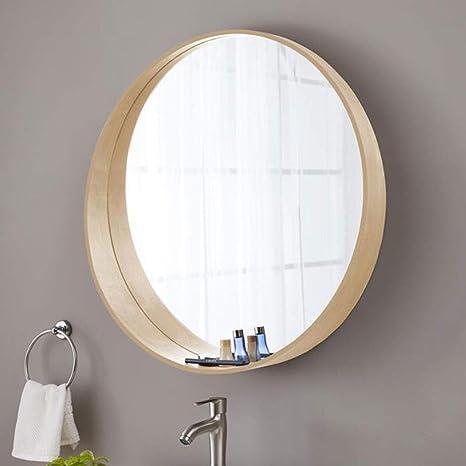 Amazon Com Bathroom Wall Mirrors Vanity Mirror Bathroom Mirror Wall Mirror Makeup Mirror With Shelf Round Mirror Wooden Hanging Mirror White Oak Large Decorative Mirror Bedroom Makeup Mirror Size 50cm Home