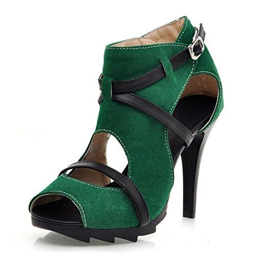 Coolcept Talon Sandales Cheville Mode Orteil Chaussures Les Femmes Vert Peep À Wrap 5qwzfa4