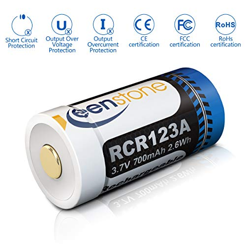 Keenstone RCR123A Rechargeable Batteries, 4Pcs 700mAh RCR123A Protected Rechargeable Li-ion Batteries with Camera Skin and Battery Case for Arlo VMS3030/3230/3330/3430 Cameras