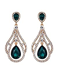 BriLove Women's Wedding Bridal Crystal Peacock Feather Shape Teardrop Chandelier Dangle Earrings