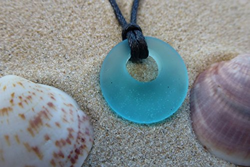 light blue ocean mystery beach sea glass mermaid donut shape small beautiful pendant pale blue handmade necklace, aqua unisex jewelry on a waxed cotto…