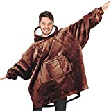 RONGO Oversized Sweatshirt Hoodie Blanket for Men, Women & Kids - Double-Sided with Sherpa & Plush Fleece Lining - Kangaroo Pocket Giant Hoody with Extra Front Pocket for Mobile Phone, Bottle or Keys
