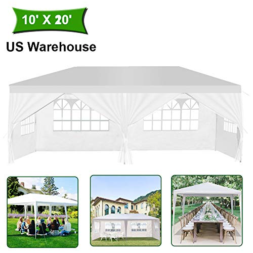 MTFY Outdoor Canopy Tent, Portable Gazebo Canopy Tent for Party Wedding Commercial Waterproof, UV Protection Shelter, Removable Sidewalls, Upgraded Spiral Tube 10x20ft 4 Sidewalls