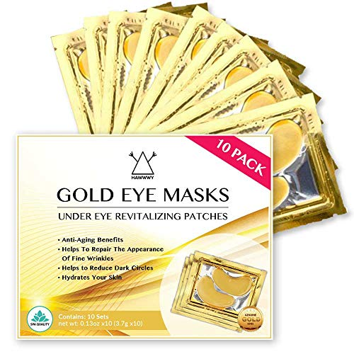24K Gold Eye Mask/Anti-aging Hyaluronic Acid Eye Patches/Gold Collagen Eye Strips for Anti Wrinkle Tissue Rejuvenation/Spa Quality/Gold Eye Strips / 10-Pack