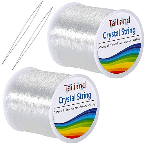 Clear Stretchy Beading - Outkitkit 0.8mm Crystal Elastic String, 2 Roll Clear Bead Cord Stretchy Bracelet String & 2 Root Threading Needles for Beading, Jewelry Making(80m/Roll)