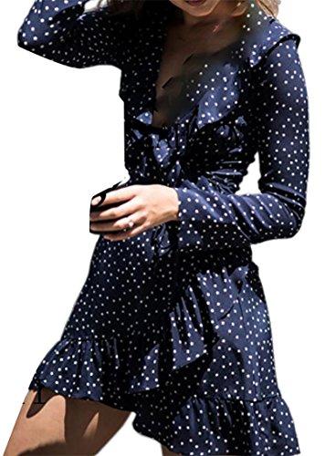 Cruiize Femmes Dot Print V-cou À Manches Longues À Volants Enveloppe Plissée Mini-robe Bleue