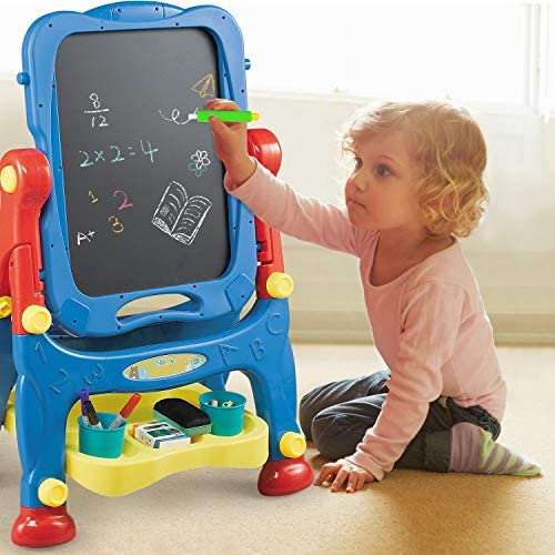 NextX Kids Easel Adjustable Double Sided Magnetic Dry Erase Board And Chalk Board Educational Toys Art Easel With Art Supplies Accessories For Kids