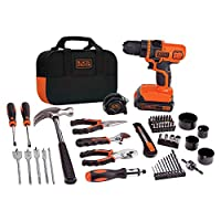 BLACK+DECKER 20V MAX Drill & Home Tool Kit, 68 Piece (LDX120PK), Black/Orange