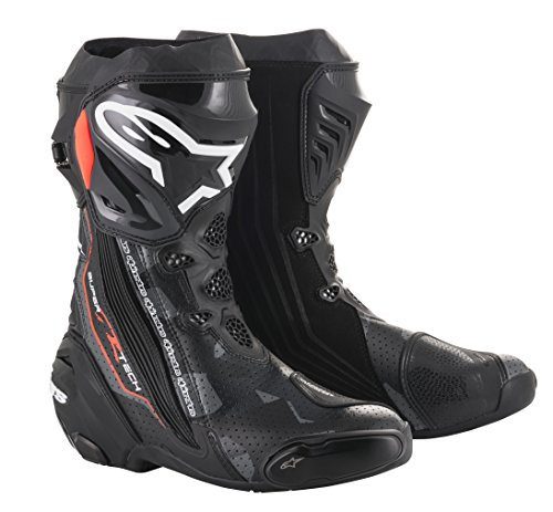 Supertech R Motorcycle Racing Boot (45 EU, Black Dark Gray Red Fluo (Evolution Race Gloves)
