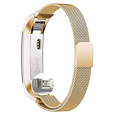 Fitbit Alta Band,Xnucol Magnetic Closure Clasp Mesh Band Milanese Loop Style Stainless Steel Bracelet Strap for Fitbit Alta (Golden)