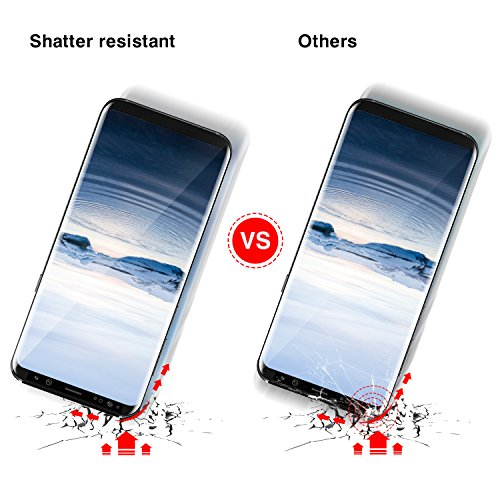 Galaxy S8 Plus Screen Protector (Case Friendly), Dendrobates Edge to Edge Hybrid Tempered Glass Film with Installation Tool Full Coverage Scratch&Shatter Resistant for Samsung S8 Plus [2 Pack] Black