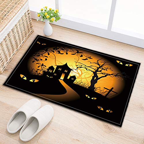 LB Dark Castle Tree Evil Eyes Watching Small Bedroom Rugs, Safe Non Slip Backing Comfortable Soft Surface, Halloween Themed Clip Art Bathroom Decor 15 x 23 Inches ()